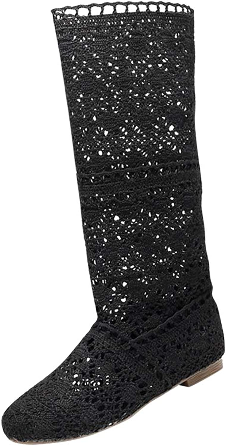 Uirend Fancy Dress for Women - Ladies Knee High Hollow Out Boots Block Heel Wide Calf Sandals Knitted Mesh Knight High Casual shoes