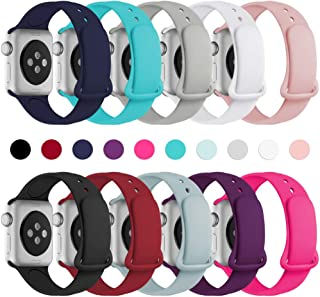 Haveda Bands Compatible with Apple Watch Band 38mm 40mm, Soft Silicone Sport Strap Wristband for Women Men with Apple Watch Series 4, Series 3, Series 2, Series 1, 10PACK, 38/40S/M