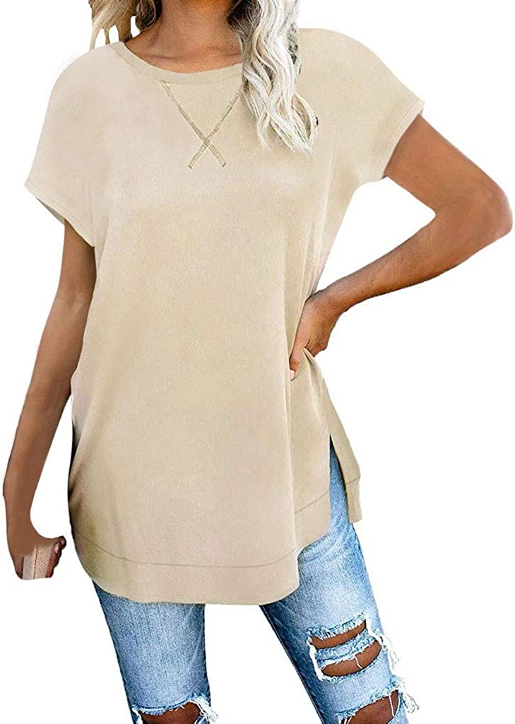 WOCACHI Blouses for Some reservation Womens O-Neck Bargain Sleeve Solid Side Short Color