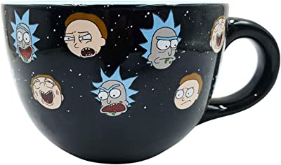 Silver Buffalo Rick and Morty Heads Line Up Ceramic Soup Mug, 24-Ounce, Black