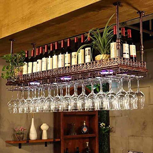 FENGZI Portabottiglie Rovesciabile Porta Ferro Battuto A Muro Portabicchieri Pensile Europeo Portabottiglie da Vino Altezza Regolabile Bar Bicchieri da Vino A Casa Mensola Ornamenti Creativi Calice