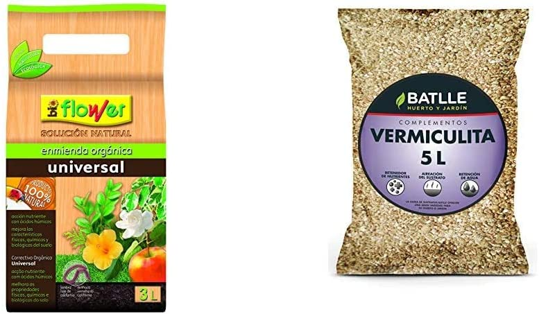 Flower 80106 80106-Humus de lombriz, 3 l, 16x11.5x29.5 cm + Sustratos - Sustrato Vermiculita 5L - Batlle