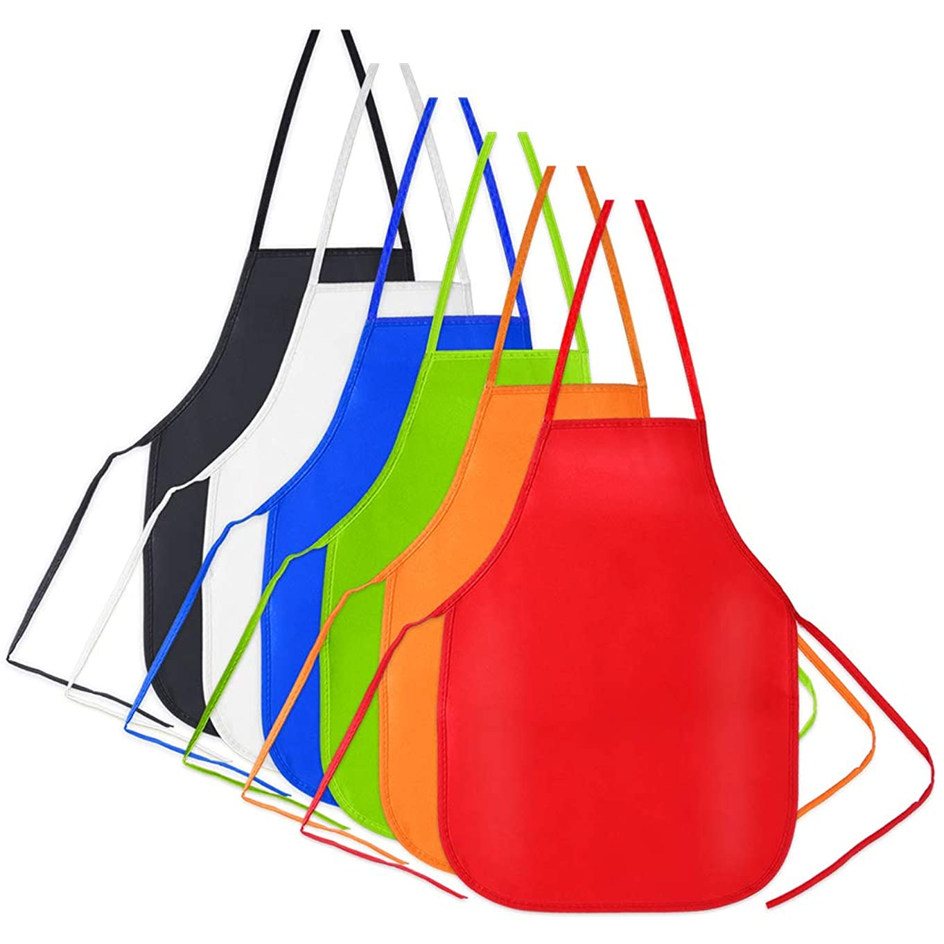Caydo 6 Pack Middle Size Fabric Aprons for 5-10 Years Old Kids, Applied in Kitchen, Classroom, Community Event, Crafts and Art Painting Activity