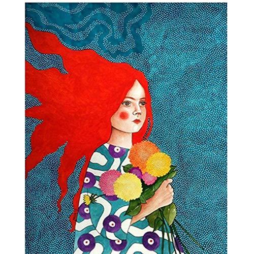 MRQXDP Chica roja de Pelo Largo con hortensias Coloridas Pintura al óleo por número Lienzo DIY...