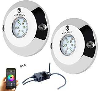 Jiawill 60W RGB CREE LED Underwater boat light,Surface Mount,Musical Control,Overheat Protection