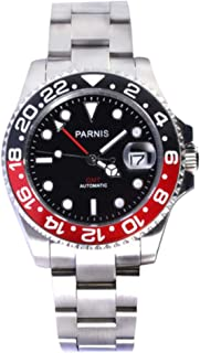 WhatsWatch 40mm Parnis Sapphire Glass GMT Master Red&Black Bezel Men Automatic Watch PA-0054