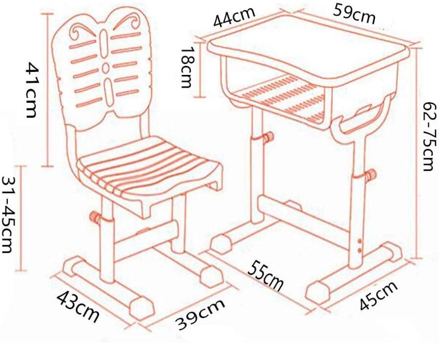 LWW Tables, bureau et chaise Set, Élève du bureau réglable en hauteur ergonomique avec tabourets HOO tiroir,rouge 1 Vert 2