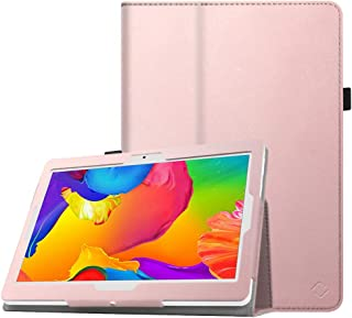 Fintie Case for Dragon Touch 10 inch K10 Tablet, Premium PU Leather Folio Cover Compatible with Lectrus 10, Victbing 10, Hoozo 10, Wecool 10.1, Yuntab 10.1 (K107/K17) Android Tablet, Rose Gold