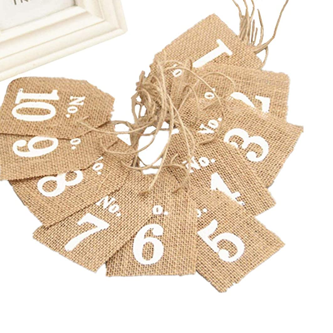 OZXCHIXU (TM) Pack of 10 Burlap Flags Table Numbers Vintage Rustic Wedding Decor