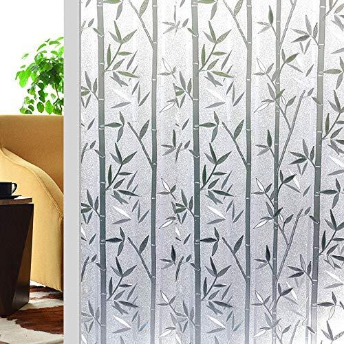 Película de privacidad Opaca de Cristal de bambú y Madera Etiqueta de Vidrio autoadhesiva no Adhesiva esmerilada película para Puertas y Ventanas de casa An 60x200cm