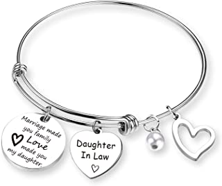 EIGSO Daughter in Law Bracelet Marriage Made You My Family Love Made You My Daughter Bangle Daughter in Law Jewelry Bride to Be Gift