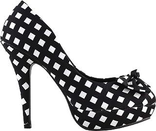 SHOW STORY Two Tone Spot Polka Dots Bow Stiletto Platform High Heel Pump,LF30406