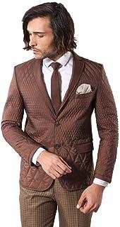 Wessi - Men's BlazersCasual Blazer - All - Slim Fit Navy Brown Quilted Blazer - Brown - 40