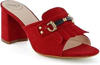 Womens Peep Toe Mules Block Heel Slip On Open Back Sandals