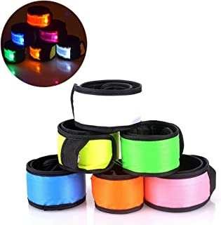 Esonstyle Pack of 6 LED Light Up Band Slap Bracelets Night Safety Wrist Band for Cycling..