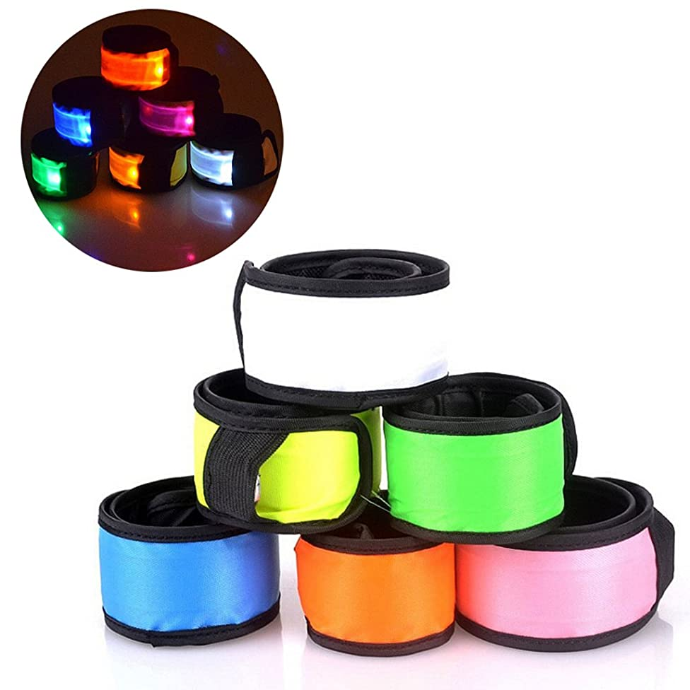 Esonstyle Pack of 6 LED Light Up Band Slap Bracelets Night Safety Wrist Band for Cycling Walking Running Concert Camping Outdoor Sports v28976901198326