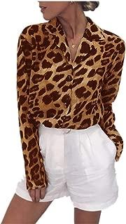 Women's V Neck Long Sleeve Button Down Leopard Print Chiffon Blouse Tops Shirt