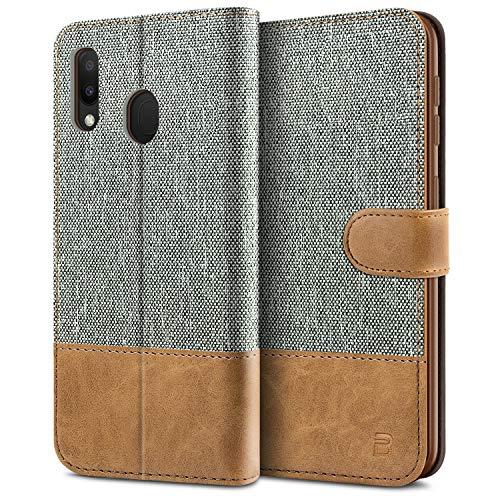 BEZ Handyhülle für Samsung Galaxy M20 Hülle, Tasche Kompatibel für Samsung Galaxy M20, Schutzhüllen aus Klappetui mit Kreditkartenhaltern, Ständer, Magnetverschluss, Grau