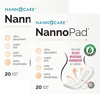 NannoPad Super - Certified Organic Cotton - Naturally Relieve Your Discomfort - No Fragrances, Chemicals or Dyes - Odor-Control and Breathable