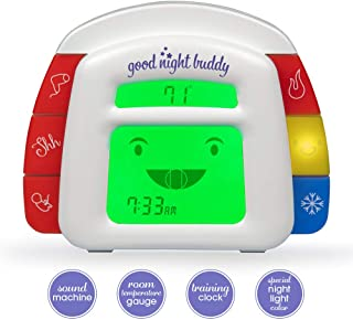 Good Night Buddy by Sleep Whisperer Ingrid Prueher - All-in-One Sleep Training Solution w/Sound Machine, Kids Alarm Clock, Room Temperature Gauge, Night Light - Teach Infant & Toddler Sleep Habits