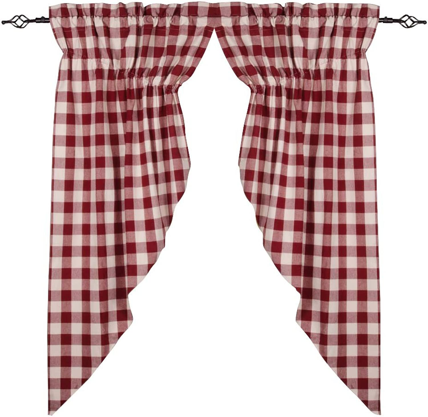 Home Collections by Raghu 72x63 (2 pcs) Buffalo Check Barn Red-Buttermilk Gathered Swag
