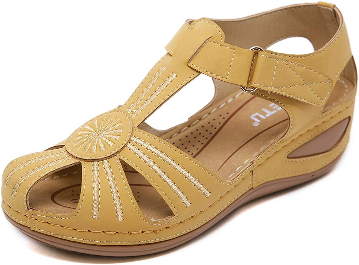 ZAPZEAL Ladies Sandals Flip Flops Slides for Women Summer Wedge Platform Hollow Post Toe Thongs Shoes with Adjustable Ankle Strap Size 6.5-11.5 US