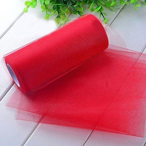 Demiawaking Schön Bunte Gewebe Tüll Papier Roll Spule Handwerk Hochzeit Geburtstag Urlaub Dekor 6 Zoll (Rot)