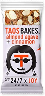 Taos Bakes Energy Bars - Almond Agave + Cinnamon (Box of 12, 1.8oz Bakes) - Gluten-Free, Non-GMO, Vegan Snack Bars