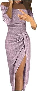 ReooLy Frauen Sexy Solide Pailletten Stitching Shining Club Mantel Langärmeliges Minikleid