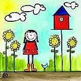 Happy Spaces - Stampa su tela per bambini, motivo: casetta degli uccelli di Jennifer Ziliotto, 40 x 40 x 2 cm