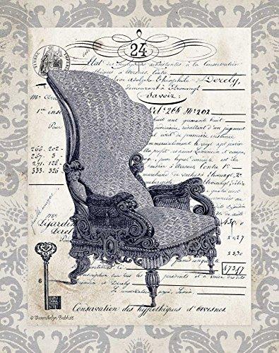 IMPRESSION-sur-TOILE-ENROULÉE-Chaise-indigo-je-Babbitt-Gwendolyn-Vintage-Affiche-imprimer-sur-toile-enroulée-100%coton-pour-décoration-murale-Dimensions-44_X_35_cm