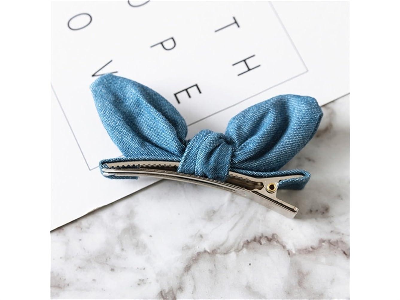 けがをする楽観的高いOsize 美しいスタイル デニムボウヘアクリップダックビルクリップサイドクリップヘアピンヘッドドレスヘアデコレーションクリップ(ライトブルー)
