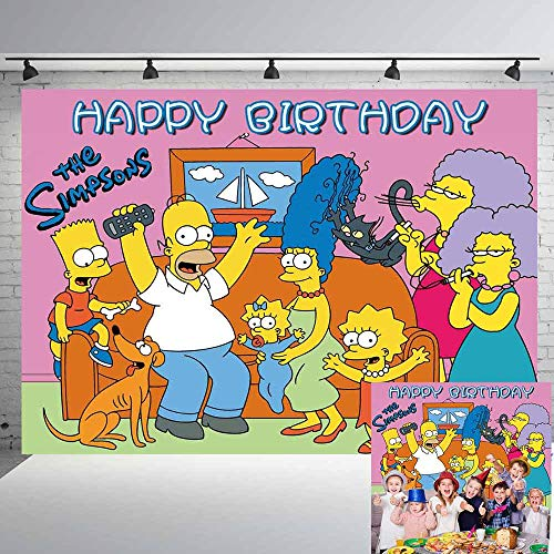 The Simpsons Backdrops Birthday Banner Party Supplies Poster Cartoon Funny Family Donut Backgrounds for Birthday Party Photography Background Photo Studio Booth