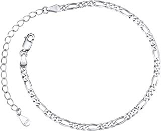 Silver Chain Bracelet Women Figaro Bracelets Teen Girls Jewelry 16-21CM Adjustable