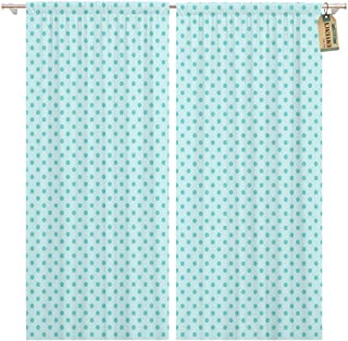 Golee Window Curtain Teal Tonal Aqua Blue Polka Dot Pattern Green Abstract Home Decor Rod Pocket Drapes 2 Panels Curtain 104 x 63 inches