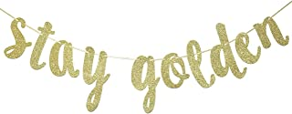 Stay Golden Glitter Gold Banner, Golden Birthday Banner, Lucky Birthday Decorations(Gold)