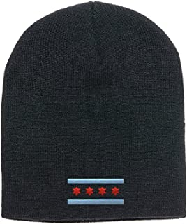 Offical Flag Of Chicago Yupoong Adult Knit Beanie Skull Cap 1500