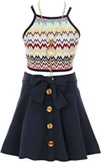 3 Piece Combo Necklace Top Skirt Sets Girl Sets Summer Special Occasion Girls Set for Girl