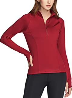 TSLA Women's 1/2 Zip Thermal Pullover Shirts, Lightweight Slim Fit Athletic Fleece Lining Winter Running Sweatshirt