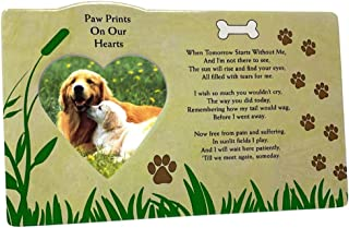 Pet Memorial Picture Frame - When Tomorrow Starts Without Me Loving Poem - Heart Shaped Photograph Opening and Easel Back - in Loving Memory of Dogs