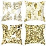 Fundas de colchón Golden Leaf Hugging Pillow Cushion Set de 4 Juegos de Fundas de cojín para la Almohada del sofá casero-Combinación de Hoja de Oro_Los 45 * 45cm