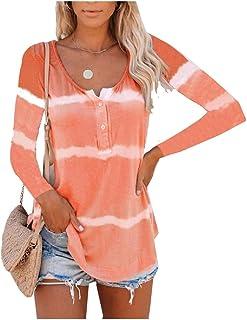 Comaba Women Lounge Crewneck Tie-Dye Blouse Long Sleeve Oversized T-Shirt Top