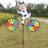 CHDHALTD Plastic Colorful Windmill Wind Spinner Kids Toy 3D Animal on Bike Windmill Wind Spinner Whirligig Garden Lawn Yard Decor