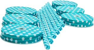 Amazing Set Of 6 Lids & 6 Straws For Regular Mouth Mason Jar Glasses, 6-Pack Decorative Colored Polka-Dot Metal Lid With Straw Holes & Striped Plastic Straw Set(Turquoise) Color of the straws may vary