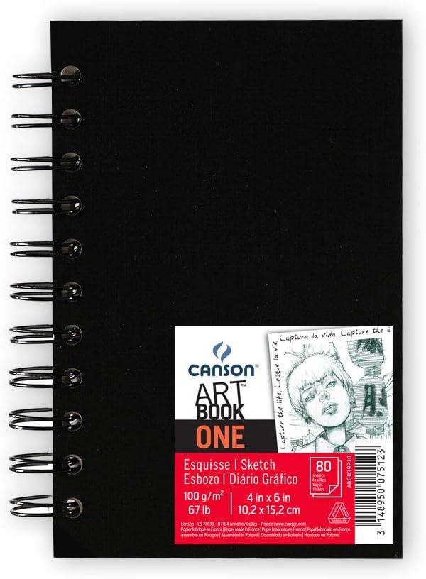 Álbum Espiral Microperforado, 10,1x15,2 cm, 80 Hojas, Canson Sketch One, Grano Fino 100g