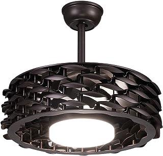 OUKANING ventilador de techo sin aspa Ventilador de techo negro con iluminación y control remoto Luz LED regulable de 22 pulgadas para dormitorio, sala, comedor
