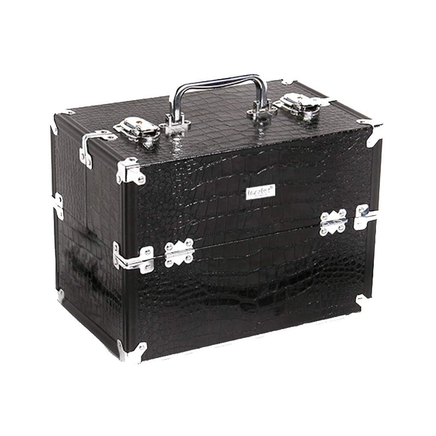 ドック統合補うメイクボックス 男女兼用 化粧ボックス 3層 3段トレイ トレンケース 化粧雑貨 メイクブラシ入れ プロ用 旅行用 出張用 大容量 多機能 携帯便利 取っ手付き コスメボックス おしゃれ 収納ケース ツールボックス 工具箱 ブラック