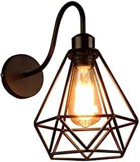 Vintage Industrial Metal Basket Cage Lampshade,Diamond Wall Light,Modern Simplicity Loft Iron Wall Mounted Lighting Fixture, for Stairway Bedroom - Black Wall Sconce lamp,1 Pack