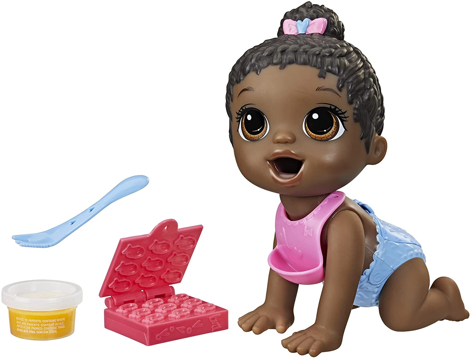 Baby Alive Lil Snacks Doll, Eats and Poops, Snack-Themed 8-Inch Baby Doll, Snack Box Mold, Toy for Kids Ages 3 and Up, Black Hair
