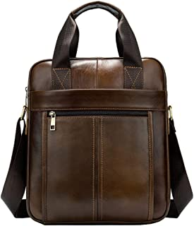 LIMING Men's Business Casual Leather Shoulder Bag Casual Messenger Bag Portable Briefcase (Color : Brown, Size : 26 * 6 * ...